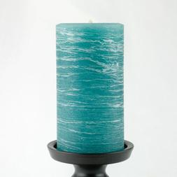 Teal Candle Rustic Pillar - 3x6 inches Tall - Unscented - by